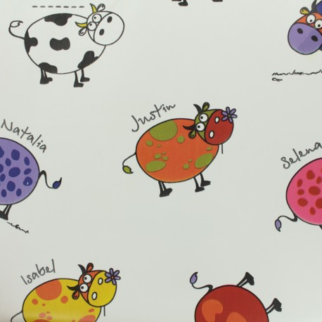 Oilcloth fabric cows colors - white background x 50cm