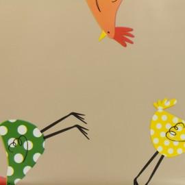 Tissu toile cirée  Oeko-Tex Taupe poulettes - taupe x 50cm