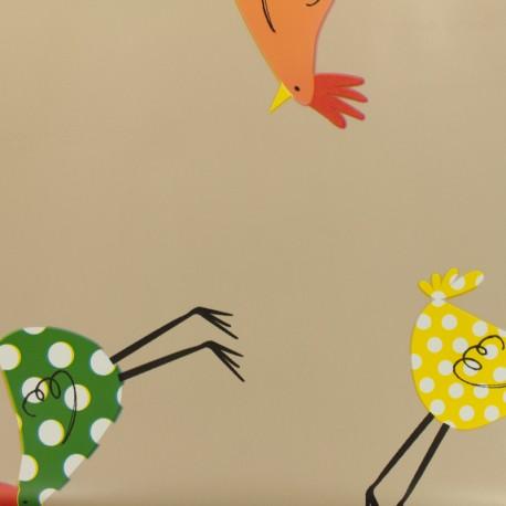 Tissu toile cirée  Oeko-Tex - taupe poulettes x 50cm