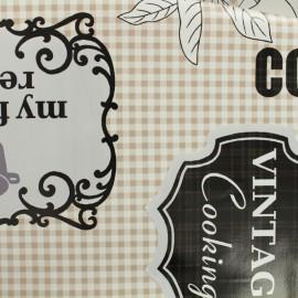 ♥ Coupon 230 cm X 140 cm ♥ Tissu toile cirée  Oeko-Tex Cooking - taupe