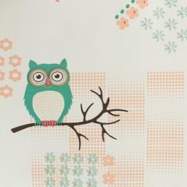 Tissu toile cirée  Oeko-Tex Hibou - blanc x 50cm