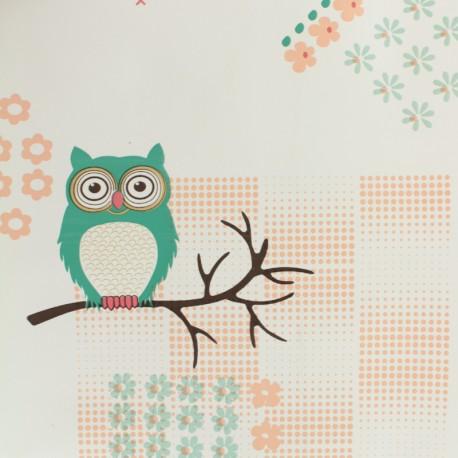 Oilcloth  Oeko Tex fabric - chicken colors - mole background x 50cm