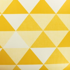 Oilcloth  Oeko Tex fabric Graphic - mustard and white x 50cm