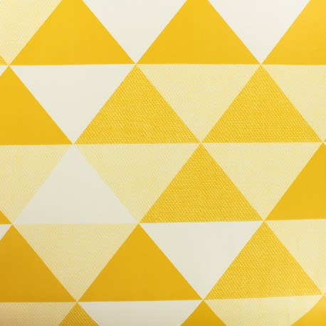 Oilcloth  Oeko Tex fabric Graphic - mustard and white x 50cm