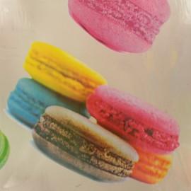 ♥ Coupon 300 cm X 140 cm ♥ Cristal transparent 15/100 Motif Macaron - multi