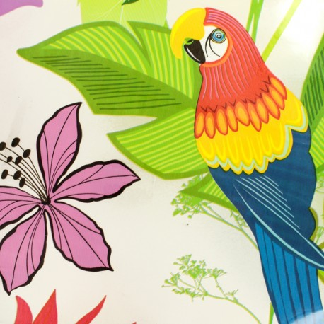 15 gauge clear vinyl fabric Parrot pattern - Multi x 50cm