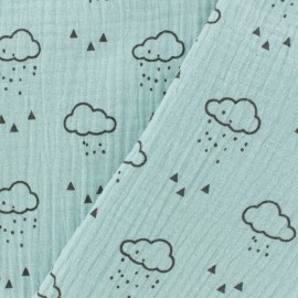 Tissu double gaze de coton Nuage - menthe claire x 10cm