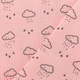 Double gauze fabric MPM Oeko-tex Cloud - light pink x 10cm