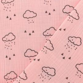 Tissu double gaze de coton Nuage - blush rose x 10cm