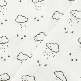 Tissu double gaze de coton Nuage - blanc optique x 10cm
