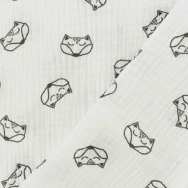Tissu double gaze de coton Renard - blanc optique x 10cm