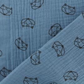 Tissu double gaze de coton Renard - bleu jean x 10cm