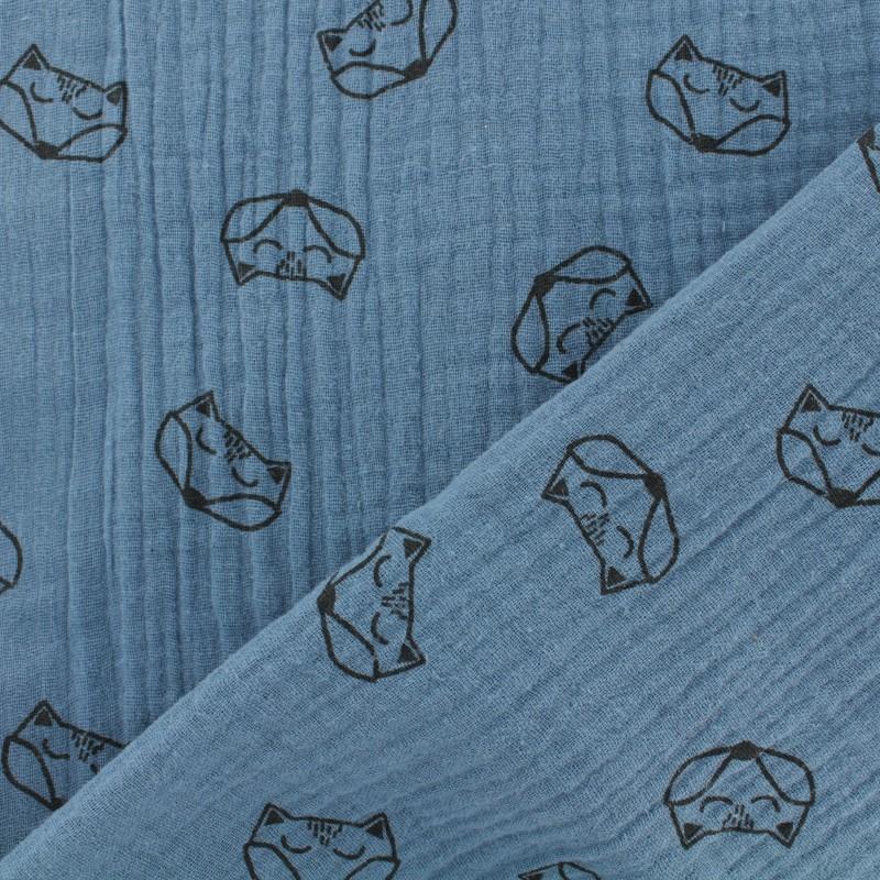 tissu net jersey sweat renard bleu