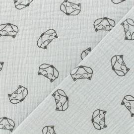 Tissu double gaze de coton Renard - argile x 10cm