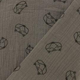 Tissu double gaze de coton Renard - noisette x 10cm