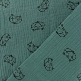 Tissu double gaze de coton Renard - eucalyptus x 10cm