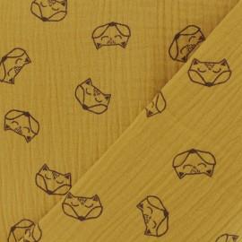Double gauze fabric MPM Oeko-tex Fox - safran x 10cm