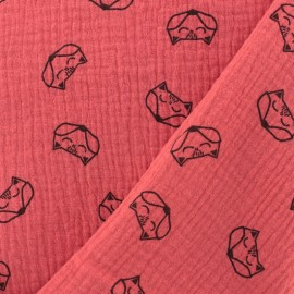 Tissu double gaze de coton Renard - grenadine x 10cm