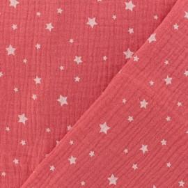 Tissu double gaze de coton Etoile - grenadine x 10cm