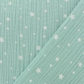 Tissu double gaze de coton Etoile - menthe claire x 10cm