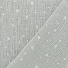 Tissu double gaze de coton Etoile - argile x 10cm