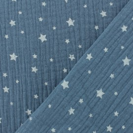 Tissu Oeko-tex double gaze de coton Etoile - bleu jean x 10cm