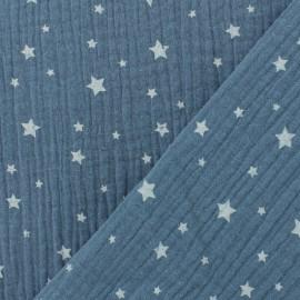 Tissu double gaze de coton Etoile - bleu jean x 10cm