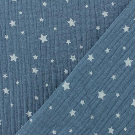 Double gauze fabric MPM Oeko-tex Star - blue jean x 10cm
