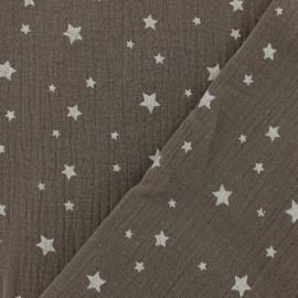 Tissu double gaze de coton Etoile - noisette x 10cm