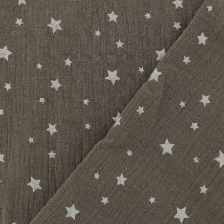 Double gauze fabric MPM Oeko-tex Star - nut x 10cm