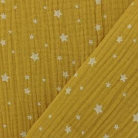 Tissu double gaze de coton Etoile - safran x 10cm