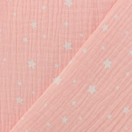 Tissu double gaze de coton Etoile - rose bush x 10cm