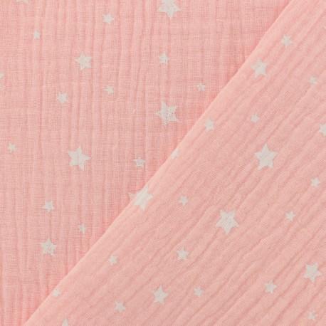 Tissu Oeko-tex double gaze de coton Etoile - rose bush x 10cm