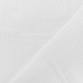 Tissu double gaze de coton - blanc optique x 10cm