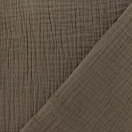 Tissu double gaze de coton - noisette x 10cm