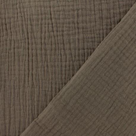 Tissu Oeko-tex double gaze de coton  - noisette x 10cm