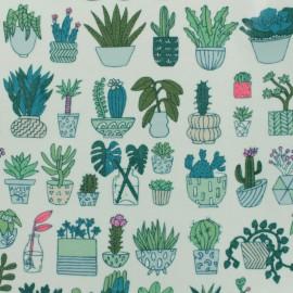 Tissu coton enduit Cactus - blanc x 10cm