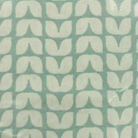 Coated fabric Tulips - sage background x 10cm