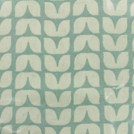 Tissu coton enduit Tulipes graphiques - sauge x 10cm