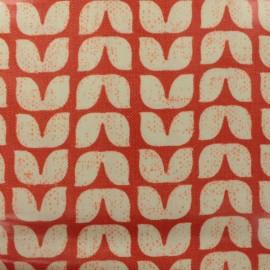 Tissu coton enduit Tulipes graphiques - orange x 10cm