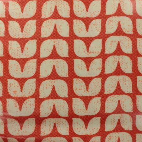 Coated fabric Tulips - orange background x 10cm