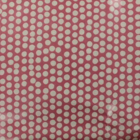 Coated fabric Spotty - raspberry background x 10cm
