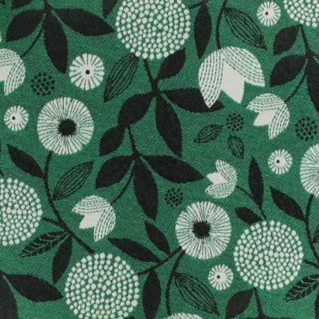 Tissu OEKO-tex Jacquard feuillage - vert x 10cm