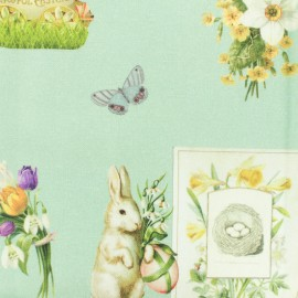 Tissu Toile de coton Joyeuses Pâques - aqua x 30cm