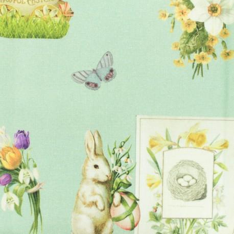 Cotton canvas fabric Happy Easter - aqua x 10cm