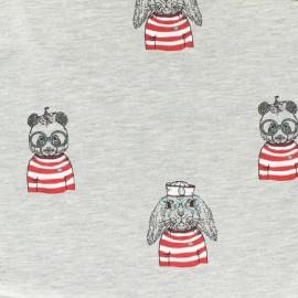Tissu coton jersey mélangé Stenzo animaux à la barre - gris clair et rouge x 20cm