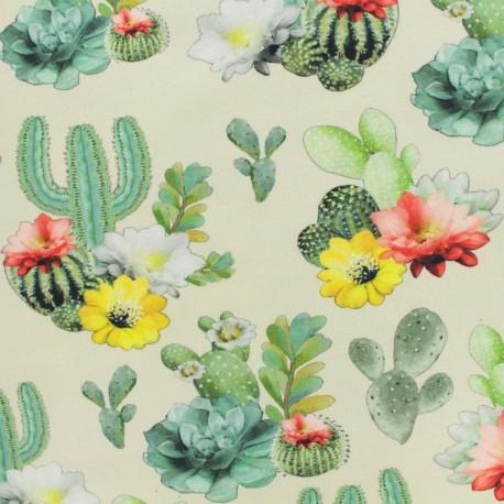 Tissu Oeko-Tex coton jersey Stenzo cactus - creme x 20cm