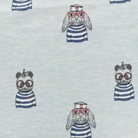 Tissu coton sweat léger Stenzo animaux à la barre - gris clair et bleu x 20cm