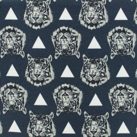 Oeko-Tex Jersey cotton fabric Stenzo tiger - dark blue x 10cm