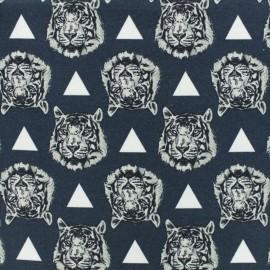 Tissu coton jersey Stenzo tigre - pétrole x 10cm